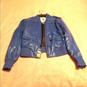 Pepe Jeans London Blue Leather Jacket